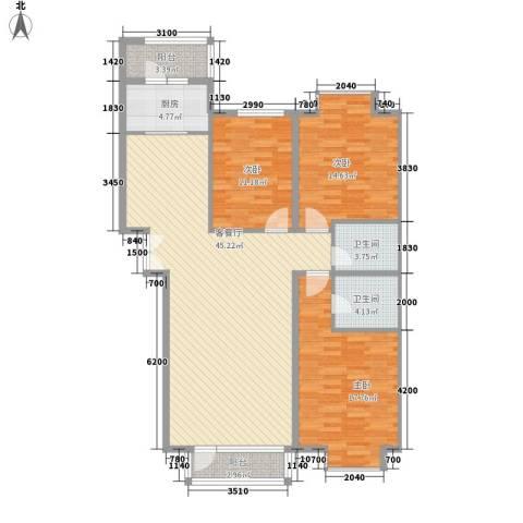 兴泰东河湾3室1厅2卫1厨149.00㎡户型图