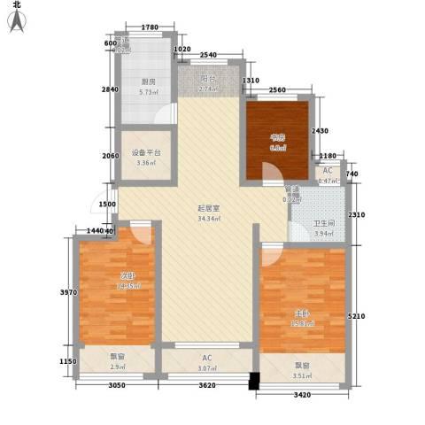 绿地世纪城3室0厅1卫1厨128.00㎡户型图