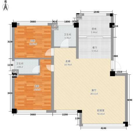 香格里拉花园2室0厅2卫1厨87.00㎡户型图