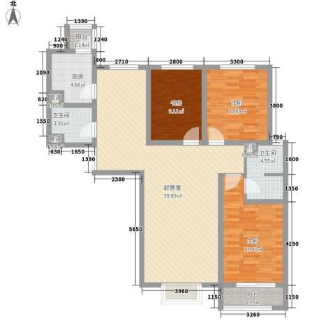 盛世桃城3室0厅2卫1厨138.00㎡户型图