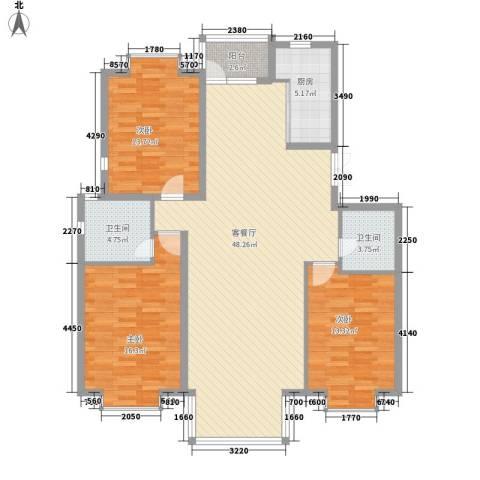 兴泰东河湾3室1厅2卫1厨151.00㎡户型图