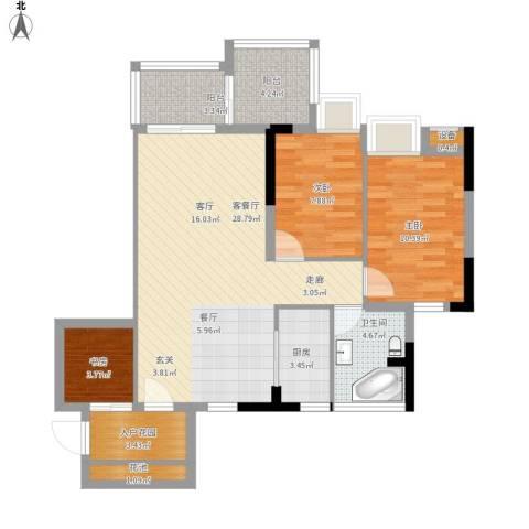 瑞泰幸福里3室1厅1卫1厨103.00㎡户型图