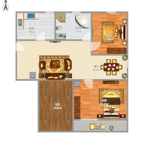 吴中东路500弄小区3室1厅1卫1厨120.00㎡户型图