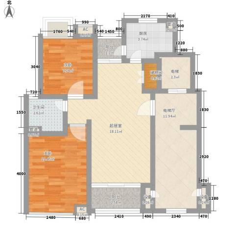 恒杰丁香花园2室0厅1卫1厨95.00㎡户型图
