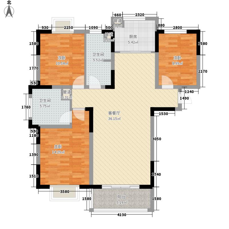 祥云京都花园133.43㎡户型3室2厅2卫1厨