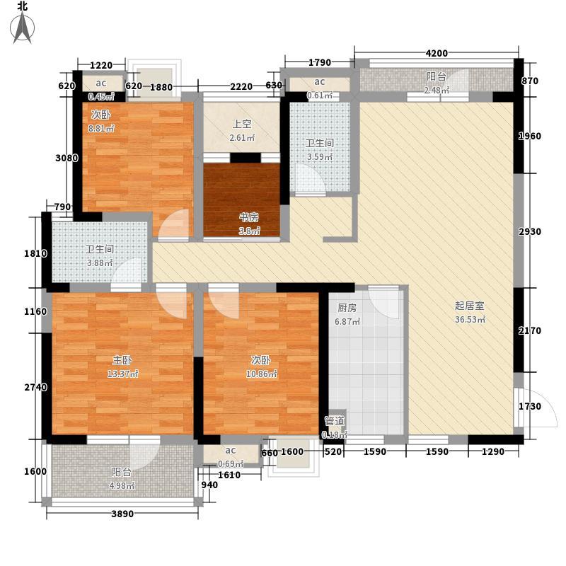 大江鑫港龙城133.94㎡3#楼E户型3室2厅