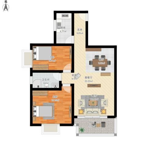 丽水花都2室1厅1卫1厨103.00㎡户型图