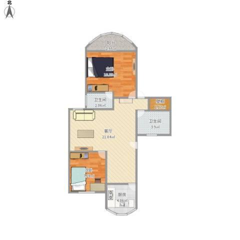 东方明珠大宁公寓2室1厅2卫1厨73.00㎡户型图