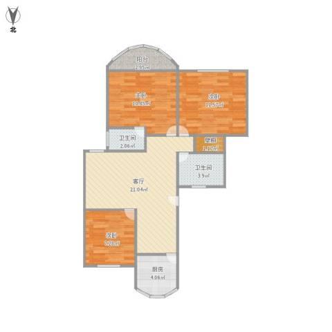 东方明珠大宁公寓3室1厅2卫1厨88.00㎡户型图