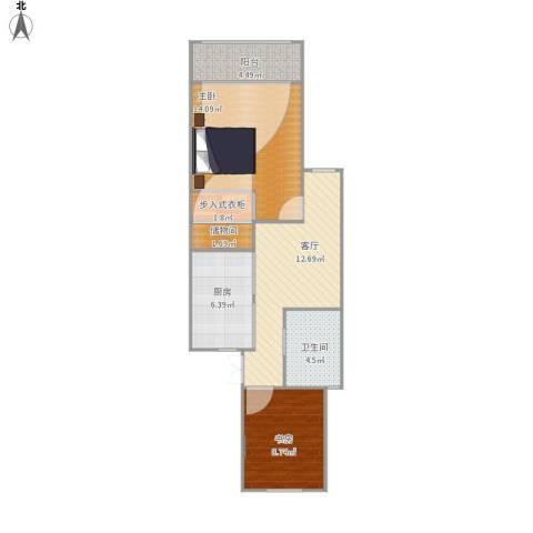 乾溪二村2室1厅1卫1厨74.00㎡户型图