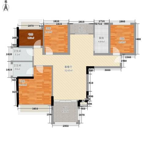 凤雅颂4室1厅2卫1厨95.00㎡户型图
