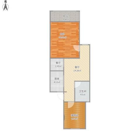 乾溪二村1室2厅1卫1厨74.00㎡户型图