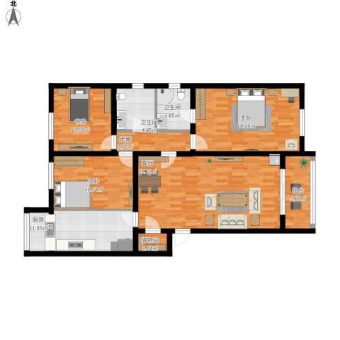 龙跃苑东四区3室1厅2卫1厨143.00㎡户型图