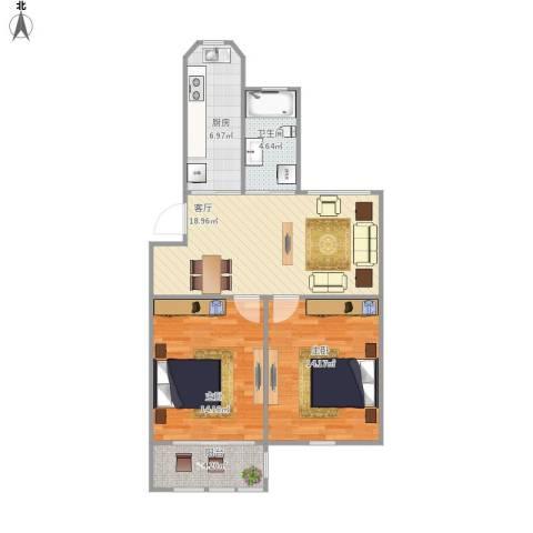 民东公寓2室1厅1卫1厨85.00㎡户型图
