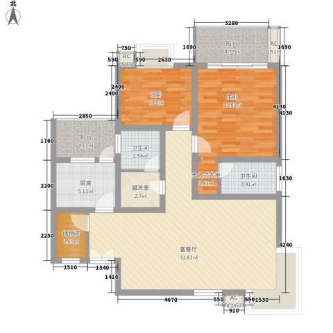 沁园春2室1厅2卫1厨121.00㎡户型图