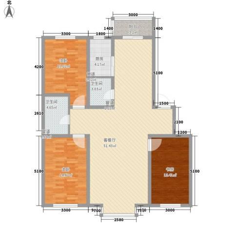 百荷湾三期3室1厅2卫1厨139.00㎡户型图