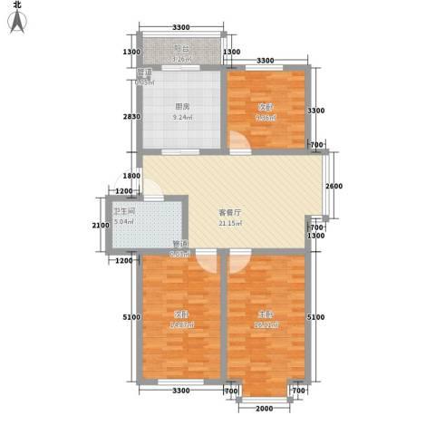 百荷湾三期3室1厅1卫1厨103.00㎡户型图