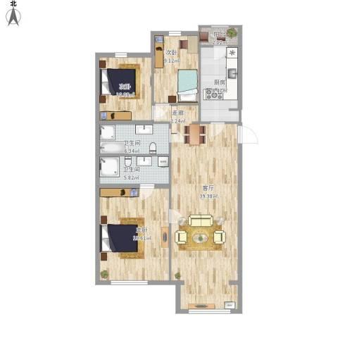 天露园一区3室1厅2卫1厨140.00㎡户型图