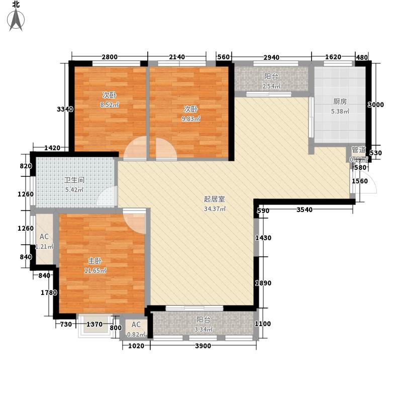 当代安普顿小镇113.57㎡四期21、22号楼H-C&apos户型3室2厅