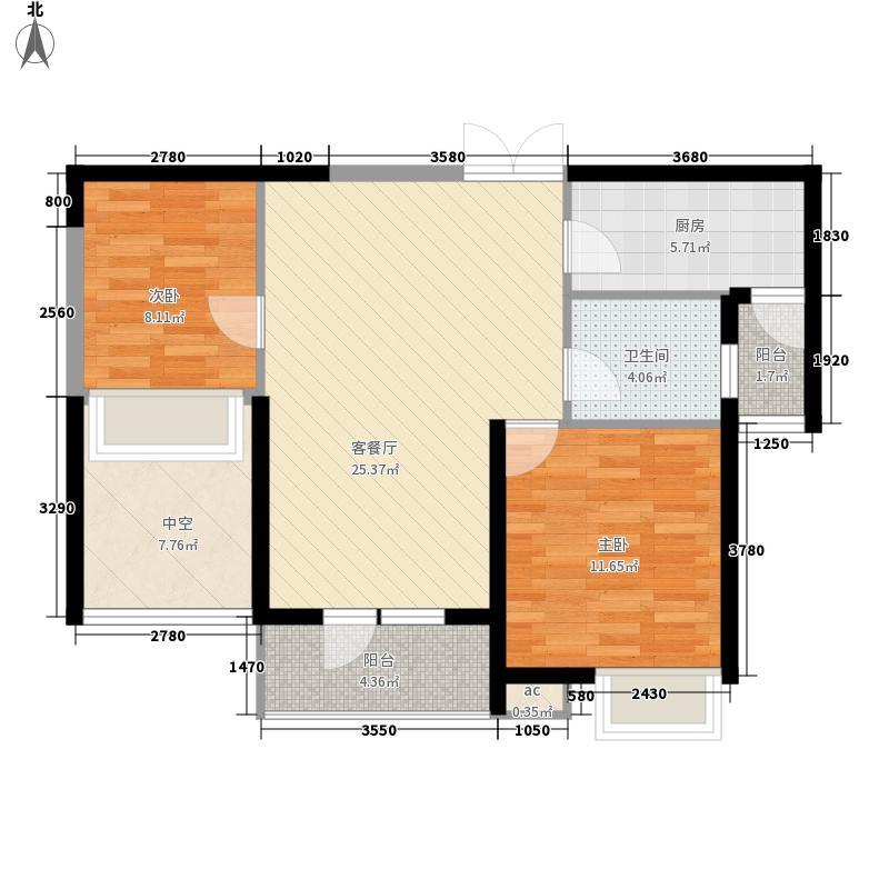 金地湖城大境洋房系2T3南向a户型2室2厅