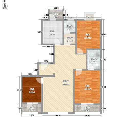 唯美品格3室1厅2卫1厨128.00㎡户型图