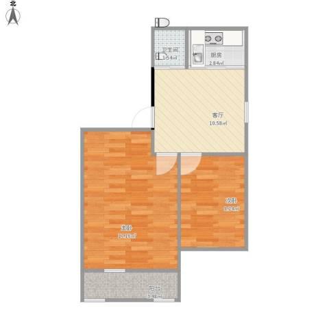 栖霞摄山星城西经济适用房2室1厅1卫1厨60.00㎡户型图
