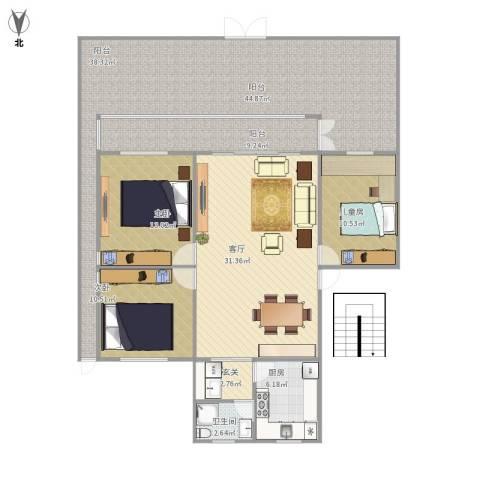 瑞景新村3室1厅1卫1厨167.00㎡户型图