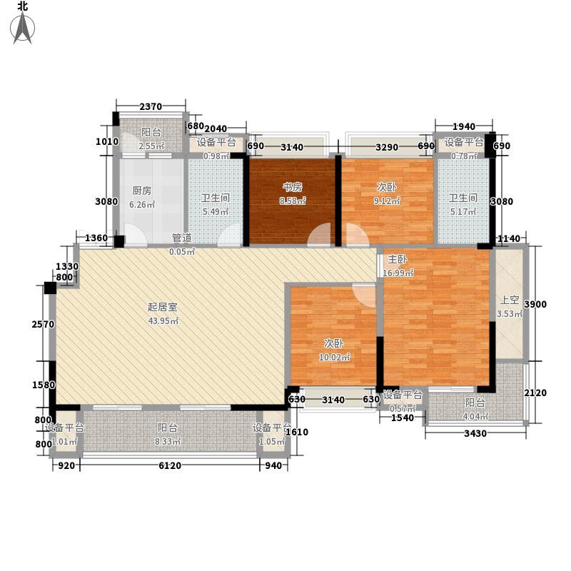 清江山水156.00㎡32期66、68号楼H户型4室2厅
