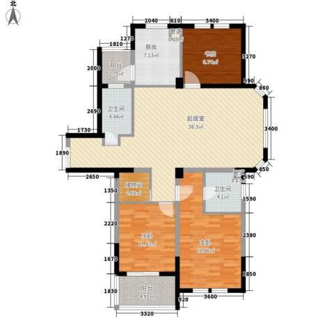 当代清水园3室0厅2卫1厨145.00㎡户型图