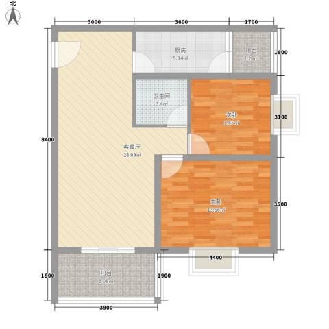 霸业大境2室1厅1卫1厨87.00㎡户型图