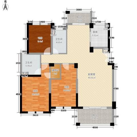 当代清水园3室0厅2卫1厨161.00㎡户型图