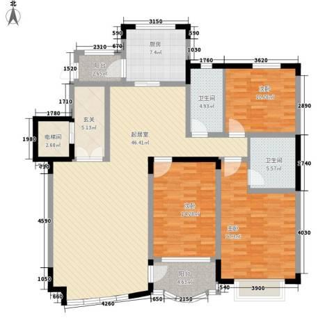 南郡水云天3室0厅2卫1厨156.00㎡户型图