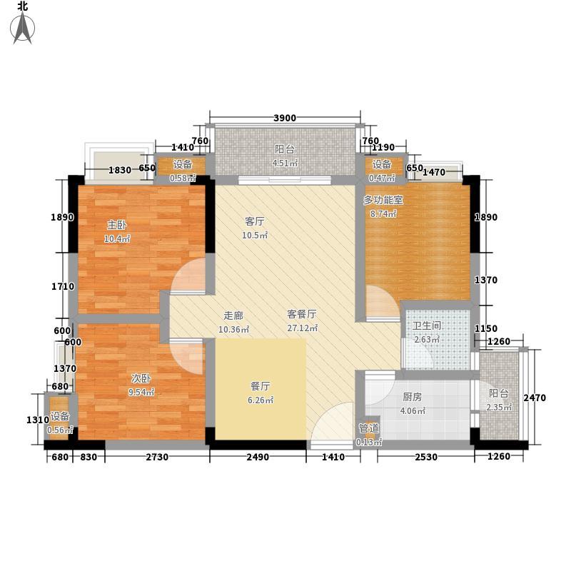 中亿阳明山水77.15㎡二期11/12号楼标准层1号房户型