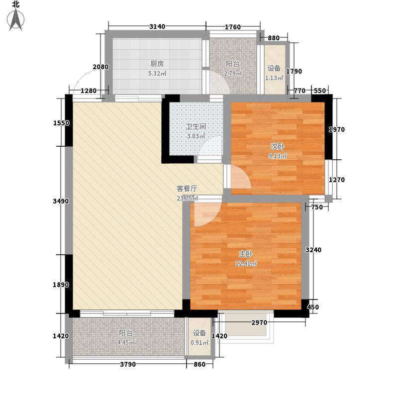 万象城益佳苑77.31㎡5期16栋17栋标准层D户型2室2厅1卫1厨