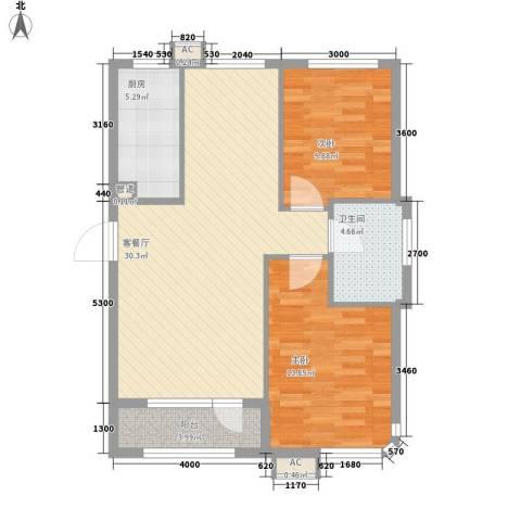 华邦俪城2室1厅1卫1厨77.40㎡户型图