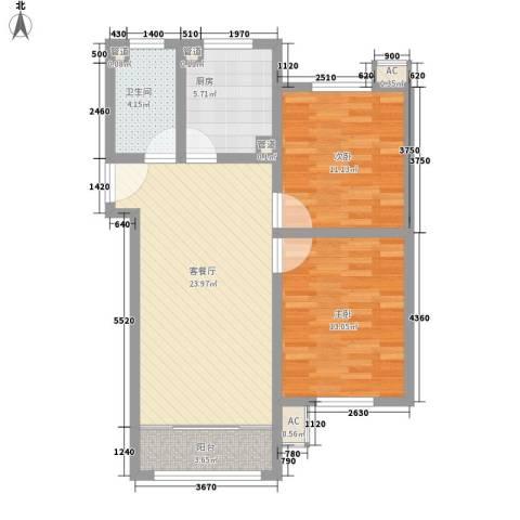 荷花盛世二期2室1厅1卫1厨91.00㎡户型图