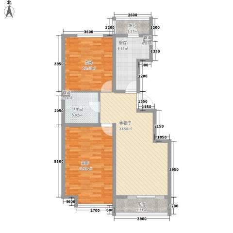 万通时代广场2室1厅1卫1厨90.00㎡户型图