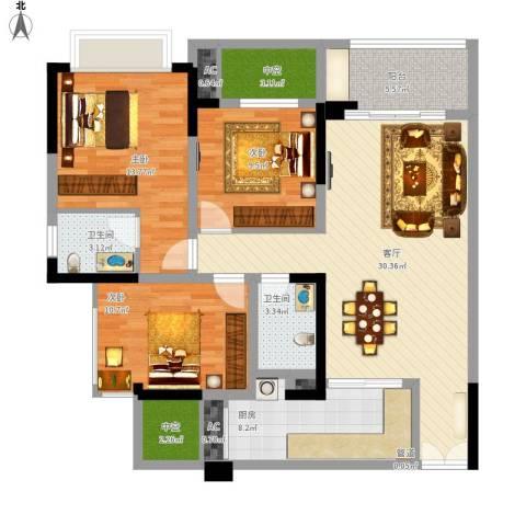 华峰晶蓝江岸3室1厅2卫1厨134.00㎡户型图