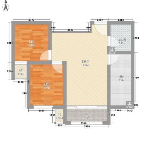 荷花盛世二期2室1厅1卫1厨72.00㎡户型图