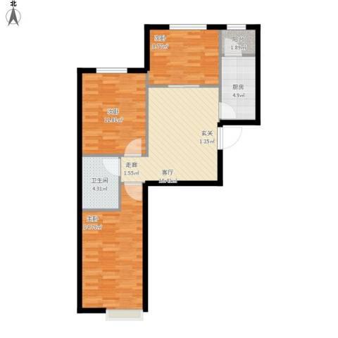 中加·博悦3室1厅1卫1厨88.00㎡户型图