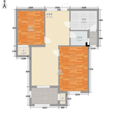 新桥头中心城2室0厅1卫1厨83.00㎡户型图