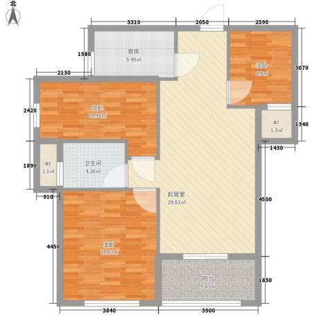新桥头中心城3室0厅1卫1厨80.39㎡户型图