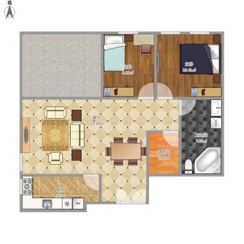 万科金色家园一期2室1厅1卫1厨104.00㎡户型图