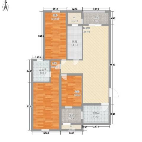 新桥头中心城3室0厅2卫1厨86.63㎡户型图
