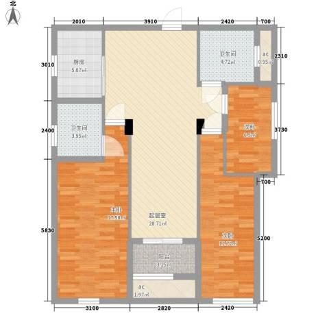 新桥头中心城3室0厅2卫1厨85.31㎡户型图