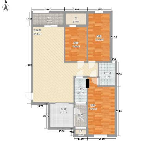 新桥头中心城3室0厅2卫1厨88.03㎡户型图