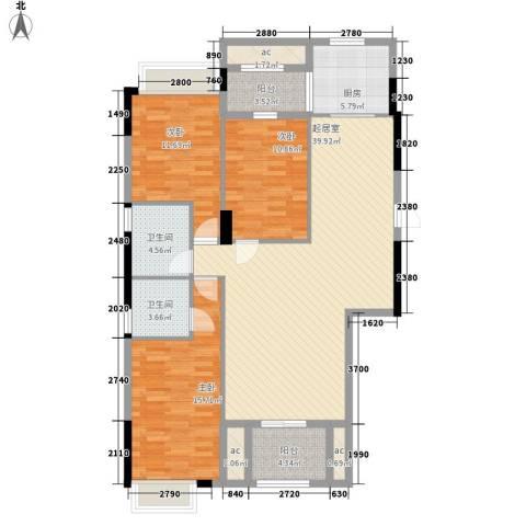 新桥头中心城3室0厅2卫1厨117.00㎡户型图