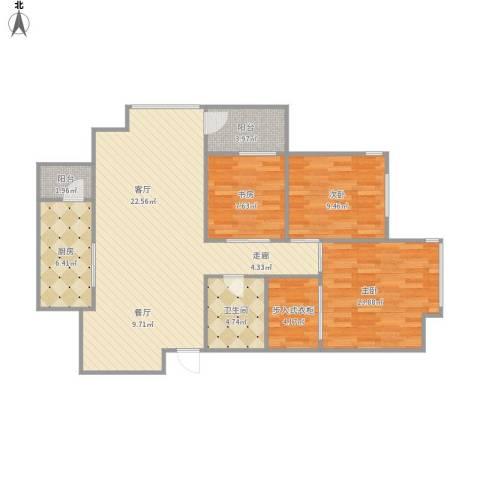 宏发长岛3室1厅1卫1厨95.83㎡户型图