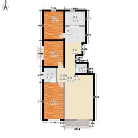 锦江花园二区3室0厅2卫1厨148.00㎡户型图