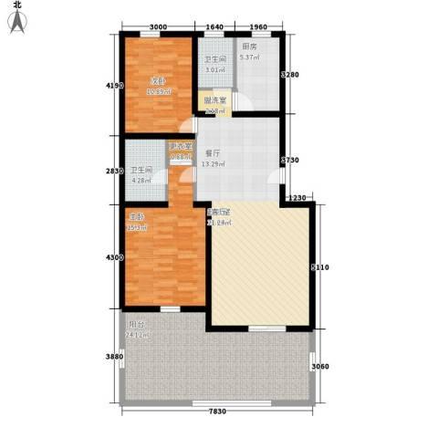 朝阳小区2室0厅2卫1厨138.00㎡户型图